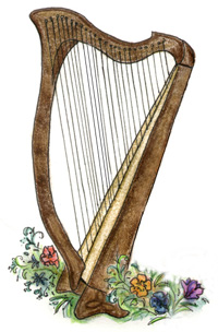 Celtic harp, drawing by Tanah Haney