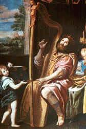 King David playing a triple harp, Domenico Zampieri